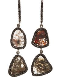Monique Pean Atelier - Diamond Slice Black Pave Diamond Twotier Earrings - Lyst