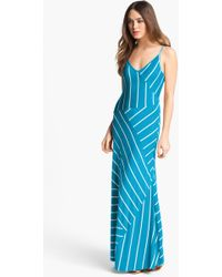 Calvin Klein Stripe Jersey Maxi Dress - Lyst
