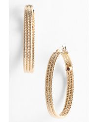 Roberto Coin Ribbed Gold Hoop Earrings yellow - Lyst