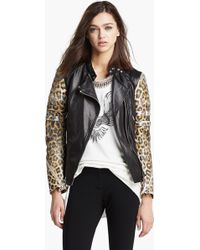 3.1 Phillip Lim Quilted Sleeve Leather Moto Jacket - Lyst