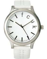 French Connection - Leather Strap Watch with Round Dial - Lyst