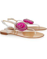 Giuseppe Zanotti Satin Rosetteembellished Leather Sandals - Lyst