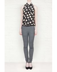 Helmut Lang Grey Stretch Leather Trousers - Lyst