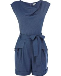 Karen Millen Tencel Denim Collection Playsuit - Lyst
