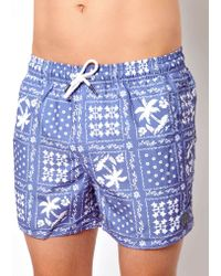G-Star RAW - Native Youth Palm Bandana Swim Shorts - Lyst