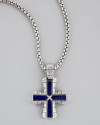 Stephen Webster - Silver Lapis Cross Pendant Necklace - Lyst