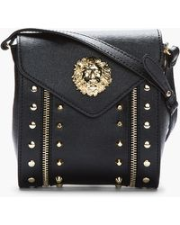 Versus  Black Quilt Print Leather Studded Bag - Lyst