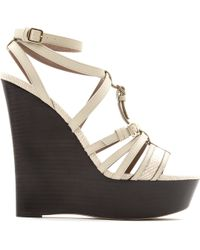 Burberry Strone Leather Wedge Sandals - Lyst