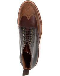 Grenson Leather Brogue Boots - Lyst