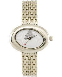 Vivienne Westwood Vv014whgd Ellipse Gold Dress Watch White - Lyst