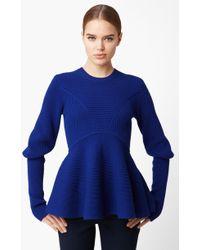 Alexander McQueen Peplum Sweater blue - Lyst