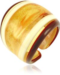 Antica Murrina - Cuba Amber and White Murano Glass Fashion Ring - Lyst