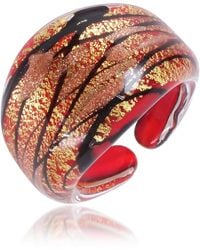 Antica Murrina - Laguna Red Gold Black Murano Glass Ring - Lyst