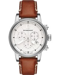Burberry The Utilitarian Steel and Leather Chronograph Watch Silver - Lyst