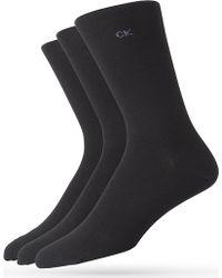 Calvin Klein Pack Of Three Flatknit Socks Black - Lyst
