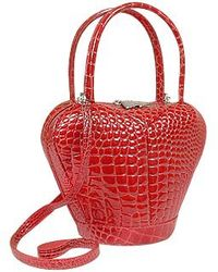 Fontanelli - Bordeaux Crocodile Stamped Leather Handbag - Lyst