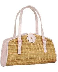 FORZIERI - Capaf Baby Pink Flower Wicker Leather Bag - Lyst