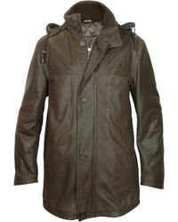 Forzieri Detachable Hood Dark Brown Leather Car Coat in Brown for ...