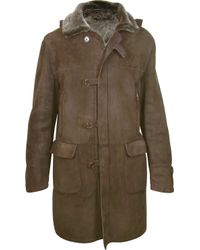 FORZIERI - Detachable Hood Mens Dark Brown Shearling Coat - Lyst
