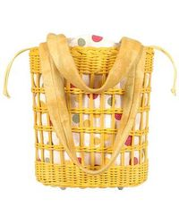 FORZIERI - Capaf Yellow Wicker Leather Bucket Bag - Lyst