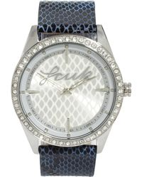 French Connection - Leather Faux Snake Strap Watch - Lyst
