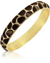 Just Cavalli Brown Giraffe Patterned Goldplated Bangle Bracelet