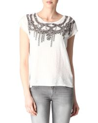 Maje Collier Printed T Shirt - Lyst