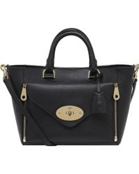 Mulberry Willow Small Silky Calf Leather Tote Black - Lyst