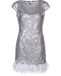 Notte by Marchesa Sequined Feather Dress - Lyst