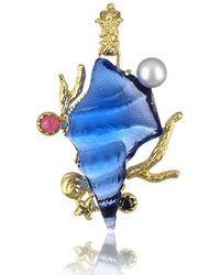 Tagliamonte - Marina Collection - Blue Seashell Tourmaline & 18k Gold Pendant - Lyst