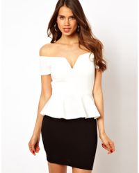 TFNC Dress with Peplum and Bow Back - Lyst