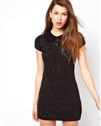 Wal-g Knitted Dress with Printed Polka Dot - Lyst