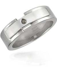 Zoppini - Black Diamond - Stainless Steel Band Ring - Lyst