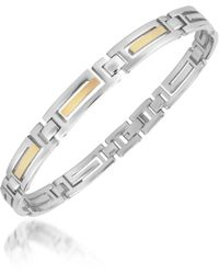 Zoppini - Zochain Stainless Steel and 18k Gold Link Bracelet - Lyst