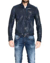 Emporio Armani Biker Leather Jacket - Lyst