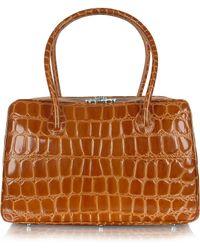 Giorgio Fedon | Spiga - Brown Croco Stamped Calfskin Medium Satchel Bag | Lyst