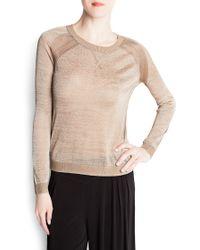 Mango Metallic Knit Sweater - Lyst