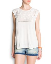 Mango Embroidered Sheer Detail Top - Lyst
