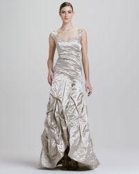 Nicole Miller Sweetheart neckline Metallic Gown - Lyst