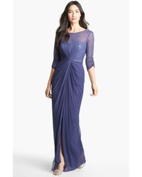 Adrianna Papell Sequin Gathered Chiffon Gown - Lyst