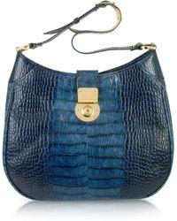 L.A.P.A. | Indigo Blue Croco Stamped Italian Leather Hobo Bag | Lyst