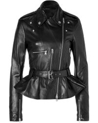 McQ by Alexander McQueen Leather Jacket with Peplum in Black - Lyst