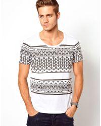 Asos Stripe T-shirt with Aztec Print - Lyst