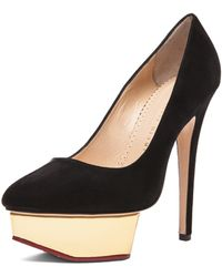 Charlotte Olympia Cindy Pump in Black Suede - Lyst