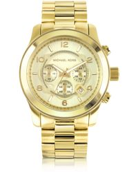Michael Kors Men'S Runway Gold-Tone Stainless Steel Bracelet Watch - Lyst