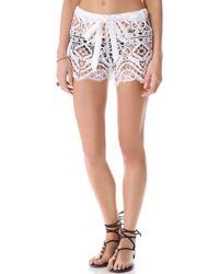 Miguelina - Eric Geometric Lace Shorts - Lyst