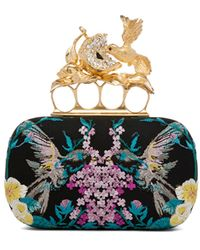 Alexander McQueen Hummingbird Clutch in Black Floral Metallics - Lyst