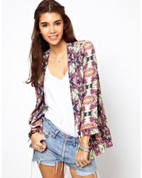 Asos Blazer in Abstract Print with Fluro Binding purple - Lyst