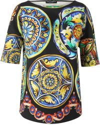 Dolce & Gabbana Tile Printed Stretch Cotton Tunic Top - Lyst