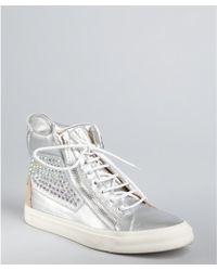 Giuseppe Zanotti Silver Metallic Leather Crystal Zip Hightop Sneakers - Lyst